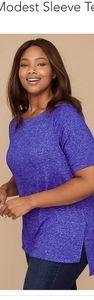 Hacci Modest Sleeve Top - Dark Blue